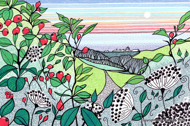 Crab apples and elderberries at Durlston  by Gina Marshall
