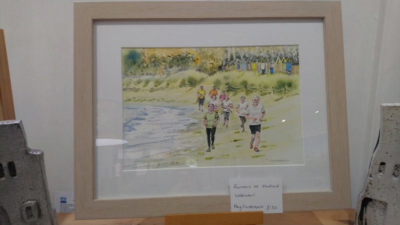 Runners at Studland, original framed watercolour by Mary Clutterbuck. 45 x 36cm. £130.