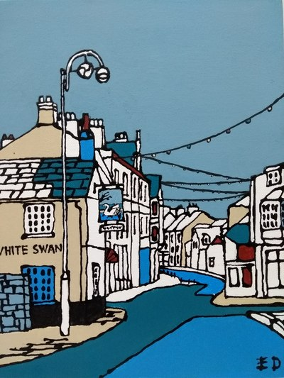 Swanage High St, acrylic on canvas by Ed Marriott. £75.