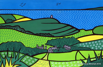View over KImmeridge by Gina Marshall. Framed original £475. A3 print £95.