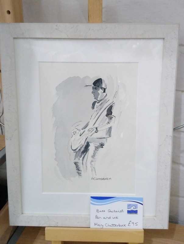 Bass Guitarist by Mary Clutterbuck, framed watercolour original.  Frame size 26 x 32cm. £95.