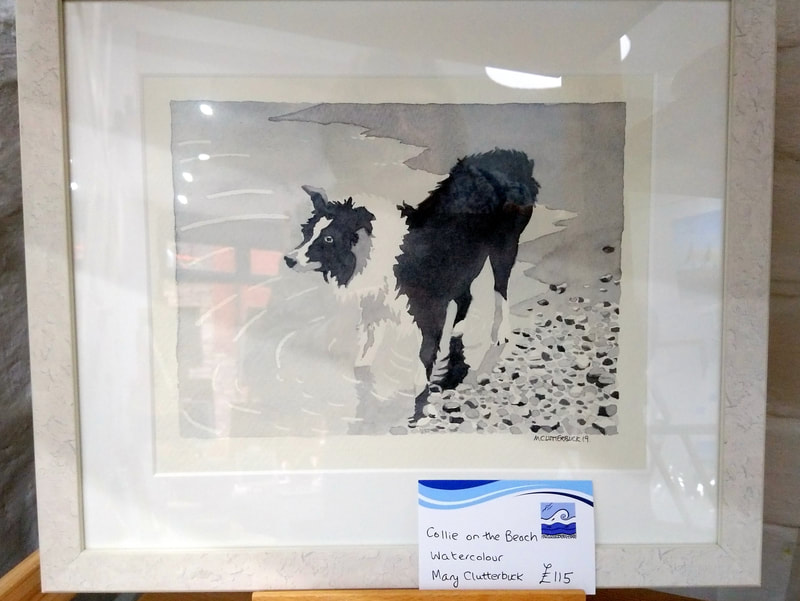 Collie on the Beach, framed original watercolour  by Mary Clutterbuck. Frame size 35 x 30cm. £115.