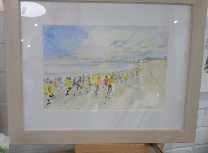 Studland 10K, framed original watercolour by Mary Clutterbuck. 42 x 33cm. £130.
