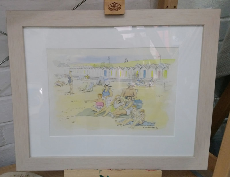 Family on Swanage Beach, framed original watercolour by Mary Clutterbuck. Frame size 42 x 34 cm. £130. Commissions of your family taken.