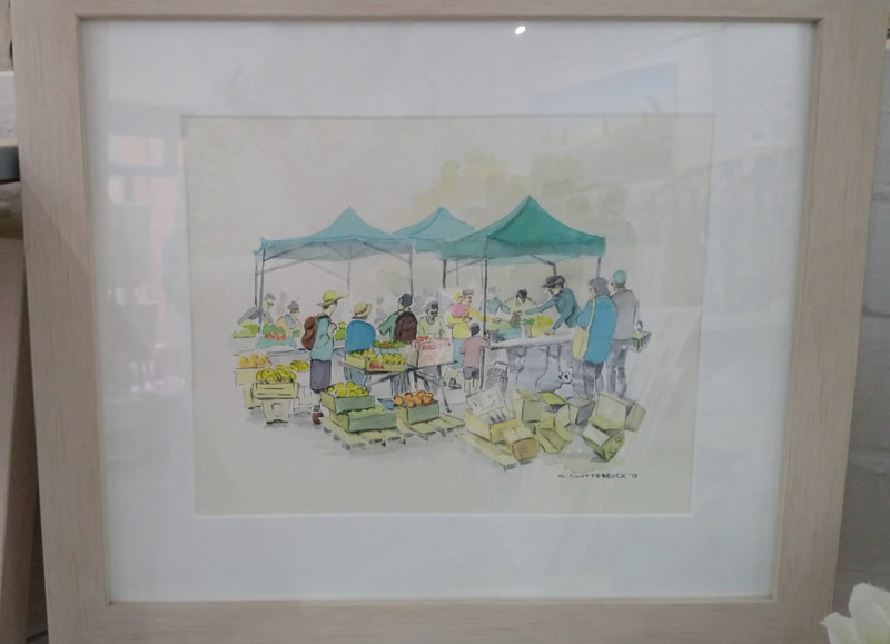 Swanage Market, framed original watercolour by Mary Clutterbuck. £120.