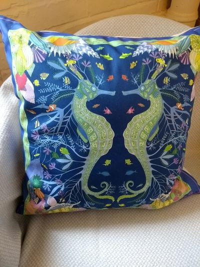 Seahorse cushion designed by Nicky Stockley. £35 or two for £60.